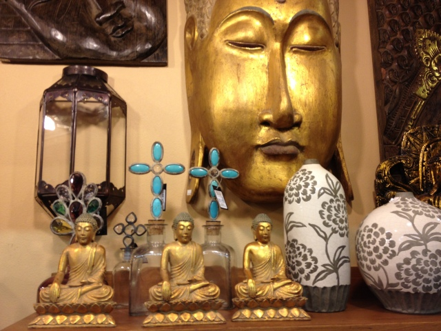 Three meditating Buddhas.